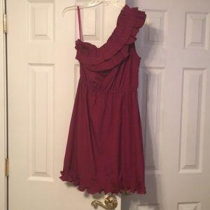 Maroon one shoulder dress